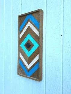 """Reclaimed Wood, Small Diamond, Sculpture, Geometric, Lath Art, 8.25"""" by 18.75"""", Turquoise, Natural, Wall Art by PastReclaimed on Etsy"""