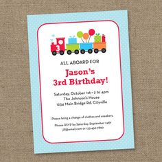 Train Birthday Party Invite - Blue and Red- Printable Digital Invitation - Personal Use Only
