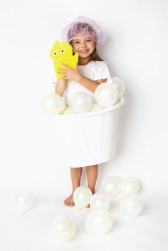 Balloon bubble bath DIY Halloween costume for kids!
