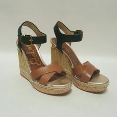 """Sam Edelman """"Clay"""" Platform Wedge Keep your style current and on track with  *Leather upper *Man-made lining and footbed *Jute rope and cork wrapped midsole *Covered wedge heel *4.75"""" Heel  *1.25"""" Platform *Feels Like 3.5"""" heel Sam Edelman Shoes Platforms"""