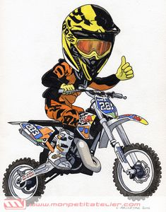 (notitle) - Cars and motorcycles - Motociclisti Motorcycle Stickers, Motorcycle Art, Bike Art, Ktm Motocross, Chopper Bike, Moto Bike, Dirtbikes, Bike Design, Cartoon Drawings