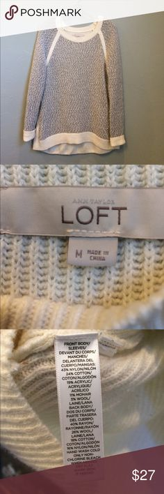 Ann Taylor Loft tunic length sweater A beautiful dove gray with flecks of ivory. Very soft. Perfect with jeans or office wear. No trades. Sz Medium Ann Taylor Loft Sweaters Crew & Scoop Necks