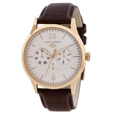 This fine watch from the Joseph Abboud watch collection is a multifunction design and features three sub-dials: Day, date, and 24-hour clock. Complementing the goldtone hands and case is a rich brown leather strap.