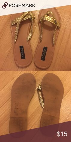 Chaps Gold Sandals Only worn a few times, great condition. No size label but they are a size 8. Chaps Shoes Sandals