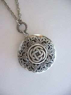 Celtic Knot Necklace Celtic Knot Locket Irish by CharmedValley Celtic Knot Necklace, Silver Locket Necklace, Silver Lockets, Sterling Silver Jewelry, Silver Jewellery, Silver Ring, Antique Locket, Antique Jewelry, Gothic Jewelry