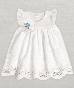 Baby Girl Eyelet Dress Ivory Baby Girl by TrufflesRufflesBaby