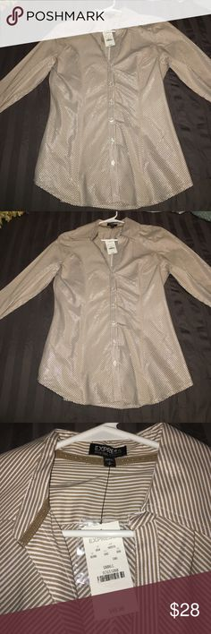 NWT Express button down shirt size small NWT Express button down shirt size small. Smoke free and pet free home. NEW! Looks gorgeous with the silver shimmer in it! Tan/silver/white Express Tops Button Down Shirts