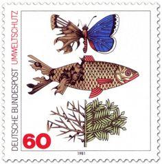 Umweltschutz, 1981. Schmetterling, Fisch und Zweig eines Baumes, zur Hälfte durch schädliche Umwelteinflüsse geschädigt bzw. zerstört.