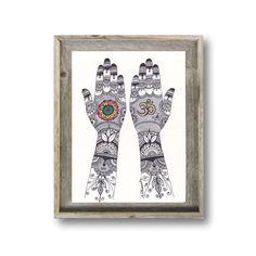 Om Symbol Henna Hand Design Original Drawing, Mehndi Hands Art, Colorful Mandala Art, Yoga Studio Wall Decor, Indian Spiritual Wall Decor by DHANAdesign on Etsy