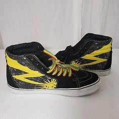 ee9afade491046 Vans Sk8-Hi Bad Brains Punk 13 Black Cyber Yellow Skate Sneakers Shoes