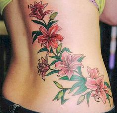 Lily Vine Tattoo On Waist