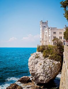 Miramare Castle, Bay of Grignano, Trieste Province, Friuli Venezia Giulia region of Italy.