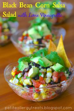 Black Bean Corn Salsa Salad with Lime Vinaigrette-PetiteAllergyTreats Good AND healthy! Gluten Free Appetizers, Easy Appetizer Recipes, Healthy Appetizers, Salsa Salad, Soup And Salad, Salad Recipes, Healthy Recipes, Free Recipes, Bean Recipes