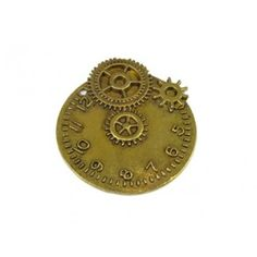 Large One Piece Steampunk Antique Brass Pewter Pendant of a Clock Face with Gears on Ball Chain Necklace