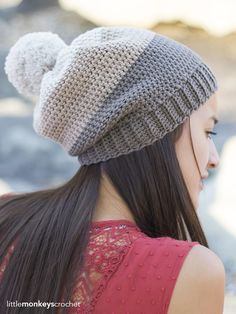 Carlyle Slouch Hat - free crochet pattern from Little Monkeys Crochet. There's a link for a matching cowl.