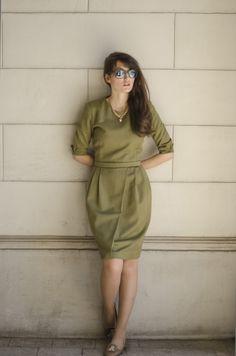 Shush-Mush - http://shush-mush.com/ladylike/ olive green dress