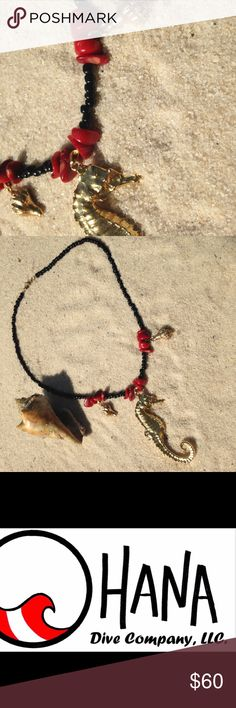 Seahorse, seashell, and coral necklace Bracelet sold separately. Real seahorse and seashells that has been dipped in gold and accented with red coral and black beads. One of kind I will not make another. Boho and mermaid chic. Hippie beach tropical vacation. Scuba dive. The Ohana Dive Company Jewelry Necklaces