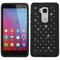 Insten Hard PC/ Silicone Dual Layer Hybrid Rubberized Matte Case Cover with Diamond For Huawei Honor 5X #2235401