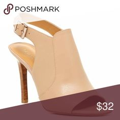 """Isabella Leather Heel Gently used (worn twice) neutral tone leather and wood colored heel. 5"""" heel. Charles David Shoes Heels"""