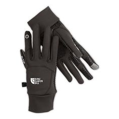 North Face ETip Gloves which allow you to use your iPhone or iPad while wearing the gloves. The fingertips have a material on them that can conduct electricity, just as your fingers do when it touches the screen. Capacitive touch.
