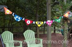 Felt bunting!     I coveted bunting I saw on Pinterest and decided to make it on my own.  $.30 pieces of felt of each color and some Elmers…BOOM!