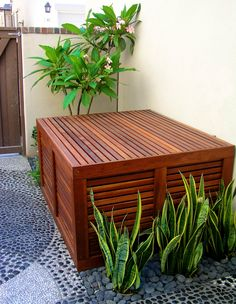 Redwood Airconditioning A/C Cover. Studio H Landscape Architecture. Los Angeles Orange County Architect. side yard, modern contemporary style, garden design, landscaping ideas