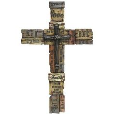 """Inspiring, Colorful Word Cross is made up of an assortment of wood-like textures. The polyresincross decor features uplifting and touching one word and short phrases such as: Love; Hope; Faith; May the Lord bless and keep you; Trust in the Lord; Lord hear my prayer.    Dimensions      Width: 14 3/4""""    Height: 23 1/4""""      Hardware:      1 - Sawtooth hanger"""