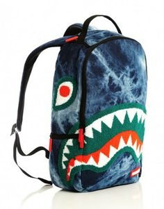 SPRAYGROUND CHENILLE SHARK ACID DENIM BACKPACK