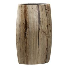 "Grand Vase. 11.5""Wx7""Dx17.75""H  69.95  Organic vase is handcrafted in terra cotta and laminated with striking variegated banana bark veneer.   Terra cotta with laminated banana bark veneer  Clear protective lacquer"