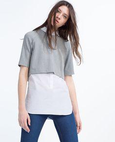 Image 3 of CONTRAST POPLIN TOP from Zara