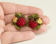 Pair of Hand Sculpted raspberry earrings dangle. Polymer clay artisan jewelry with miniature red berry and olive green leaves is made by myself from polymer clay. The length of earrings cm, width - 2 cm Polymer Clay Crafts, Polymer Clay Earrings, Tiny White Flowers, Clay Flowers, Clay Creations, Handmade Jewelry, Artisan Jewelry, Berries, Etsy