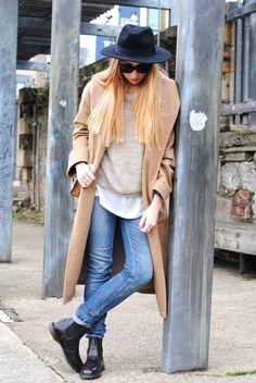 Dr Marten Flora Boot (c/o)  Mango Coat   Zara Tee   Celine Sunnies (Similar)   HM Fedora   DVF Bag (Similar)...
