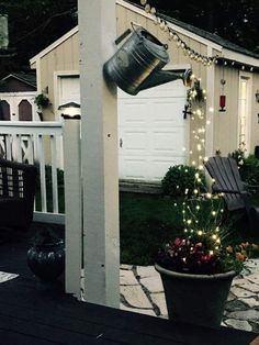 22 Unique DIY Fountain Ideas to Spruce Up Your Backyard Outdoor party. - 22 Unique DIY Fountain Ideas to Spruce Up Your Backyard Outdoor party lights using a gar - Outdoor Projects, Garden Projects, Garden Crafts, Diy Projects, Outdoor Party Lighting, Outdoor Decor, Garden Lighting Ideas, Patio Lighting, Outdoor Ideas