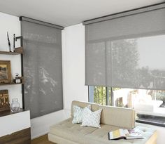 Solar Shades for Living Rooms Large Window Treatments, Window Treatments Living Room, Living Room Windows, House Windows, Window Coverings, Living Rooms, Floor To Ceiling Windows, Blinds For Windows, Curtains With Blinds