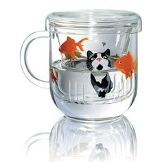 Cat and Fish Tea Infuser - Graham and Green: Tea infuser with cat design on the strainer and fish on the tea cup Made from high heat resistant glass Read More