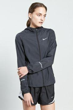 Shop for Nike Sportswear Outerwear for Women | Distance Jacket in Black/Reflective Silver | Incu