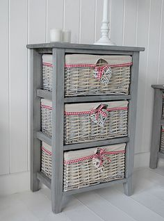 St Ives grey wooden storage furniture with three grey willow basket drawers. Wicker Bedroom Furniture, Cottage Furniture, Country Furniture, Country Decor, Painted Furniture, Diy Kitchen Storage, Diy Storage, Basket Willow, Baby Deco