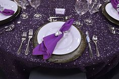 The 'Imperial Style' event or wedding tablescape featured Imperial eggplant sequin linen with silver etched charger, plum poly linen napkin with specialty silver napkin ring.  #dressyourday #weddingfairmn festivitiesMN.com