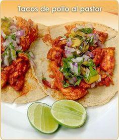 TACOS DE POLLO AL PASTOR Pollo Al Pastor Recipe, Tostadas, Tacos Ahogados, Chicken Tacos, Pollo Chicken, Enchiladas, Tortillas, Mexican Dishes, Mexican Food Recipes