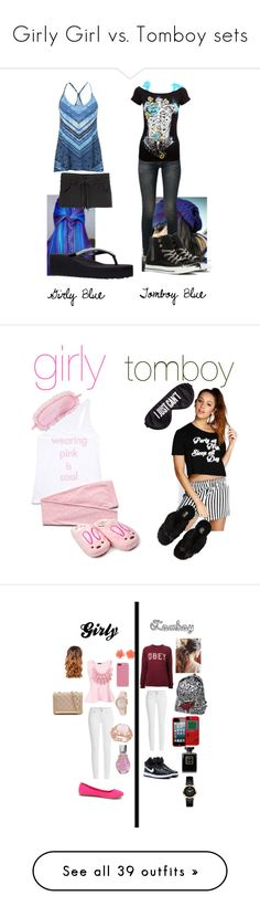 """""""Girly Girl vs. Tomboy sets"""" by sierra-ivy on Polyvore featuring girly, tomboy, girlygirl, girlygirlvstomboy, Helmut Lang, maurices, R13, Converse, Miss KG and Forever 21"""