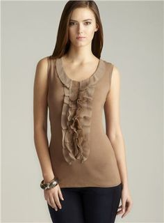 Brown Sleeveless Ruffle Front Top - Loehmanns $22.99