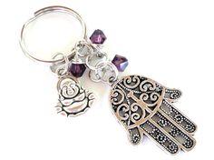 Hamsa Buda llavero bolsa encanto llavero protección Yoga accesorios púrpura regalo único bajo 20 artículo G53