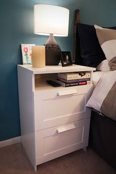 This BRIMNES 2-drawer chest offers plenty of storage for a small space – which is why the IKEA Home Tour Squad used it as a nightstand in their bedroom makeover! The sleek design makes it perfect for displaying photos, candles or books!