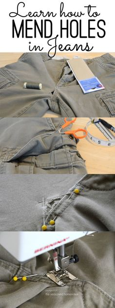 Did you hear - Mending is making a comeback! Don't toss out jeans because of a small hole. This easy-to-follow tutorial shows you how to Mend Holes in Jeans - The Seasoned Homemaker