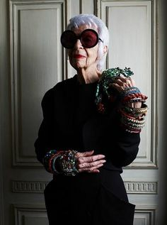 Iris Apfel-- I will look this fab in my old age--fabulous !!!
