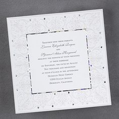 Jeweled Love wedding invitations features pearl flourishes and metallic border make this invitation, simply stunning and unique. Item Number:FV13150