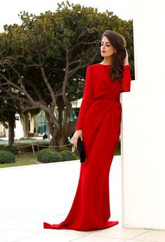 Red Pianoforte evening gown