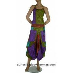 Vestido hippie de algodón estampado.