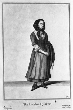 The London Quaker. A woodcut print of a woman, entitled 'The London Quaker'. It is from 'The Cryes of the City of London' numbered 45, published by Robert Sayer, c.1760. MoL 003250