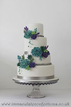 Teal and Purple Succulent Wedding Cake Wedding Cakes - Award Winning Cakes by Natalie Porter - Hertfordshire, London and Essex #wedding #weddingcake #sugarflowers